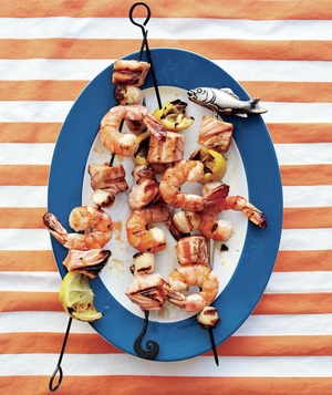 Shrimp, Salmon, and Scallop Kebabs