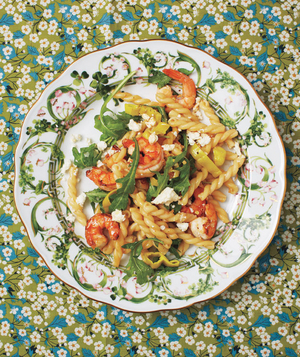 Gemelli With Shrimp, Arugula, and Feta