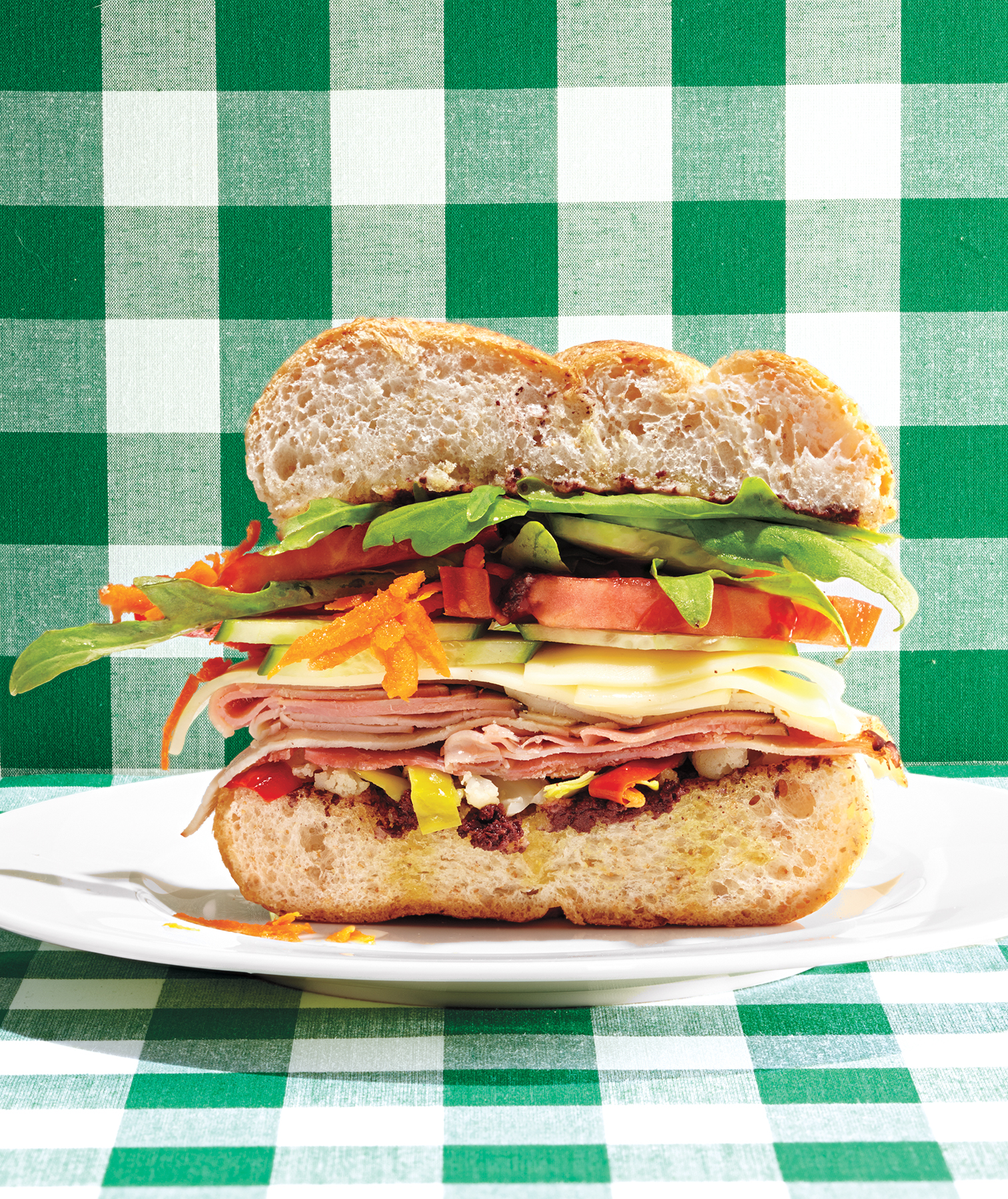 Five-Layer Veggie (and Ham) Sandwich