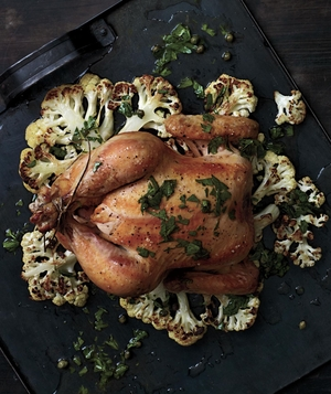 Whole Roasted Chicken on a Bed of Cauliflower