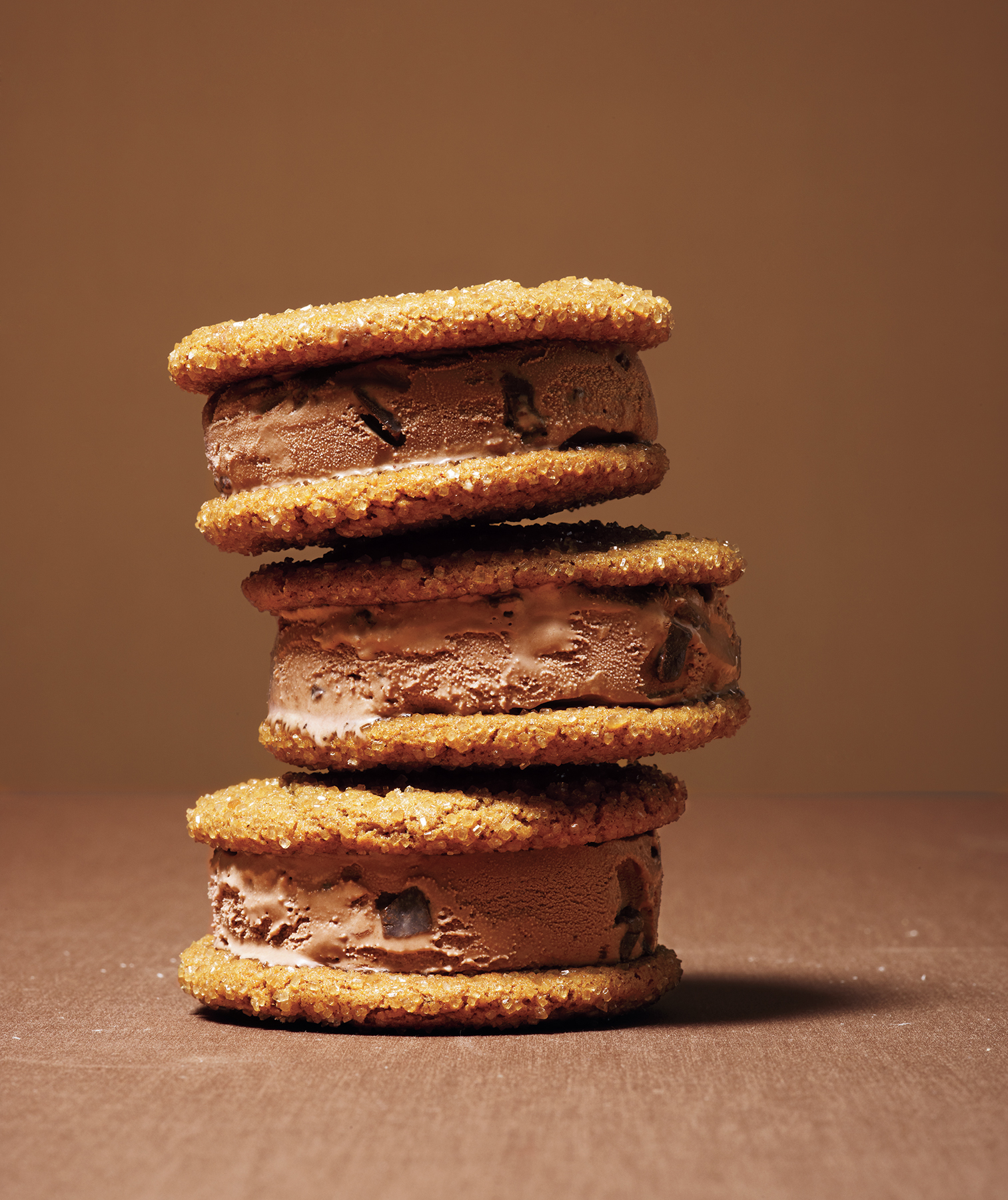 Molasses-Ginger Chocolate Ice Cream Sandwiches