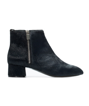 Zara Block Heel Leather Bootie