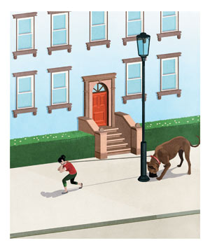 Illustration: woman pulling large dog down street