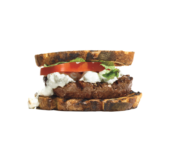 Burgers With Feta-Yogurt Sauce, Tomato, and Mint