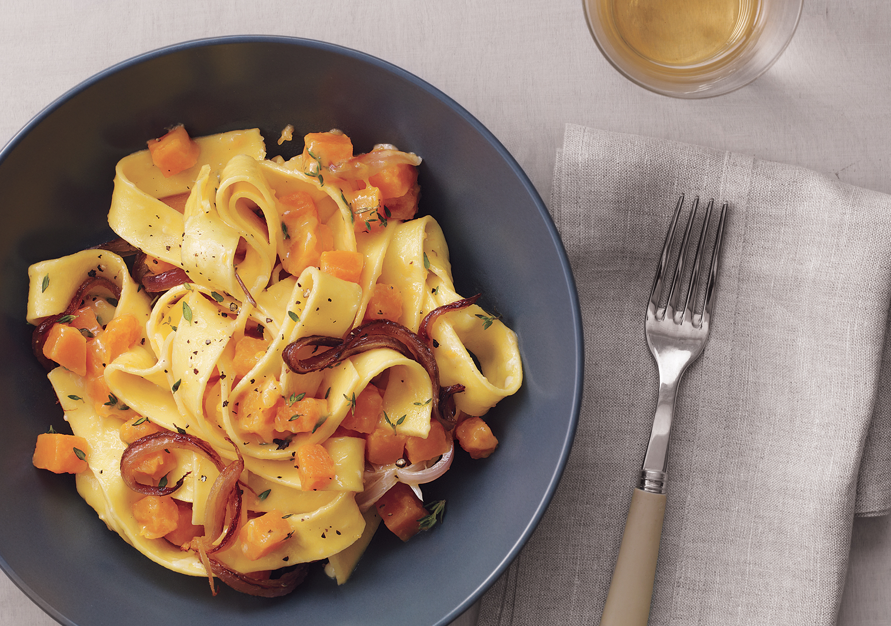 Buttery Pappardelle With Pumpkin and Caramelized Onions
