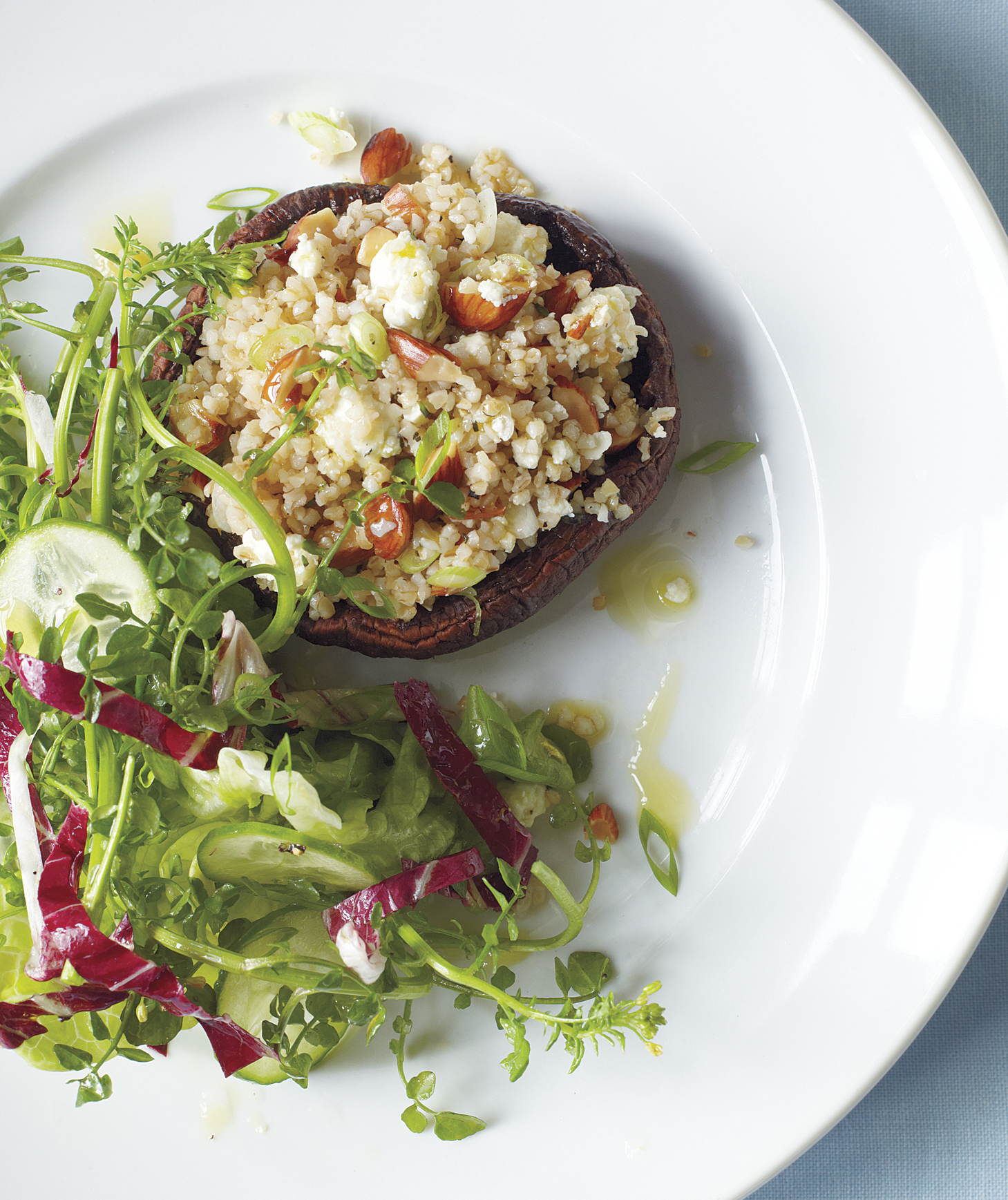 Stuffed Portobello Mushrooms With Feta and Almonds