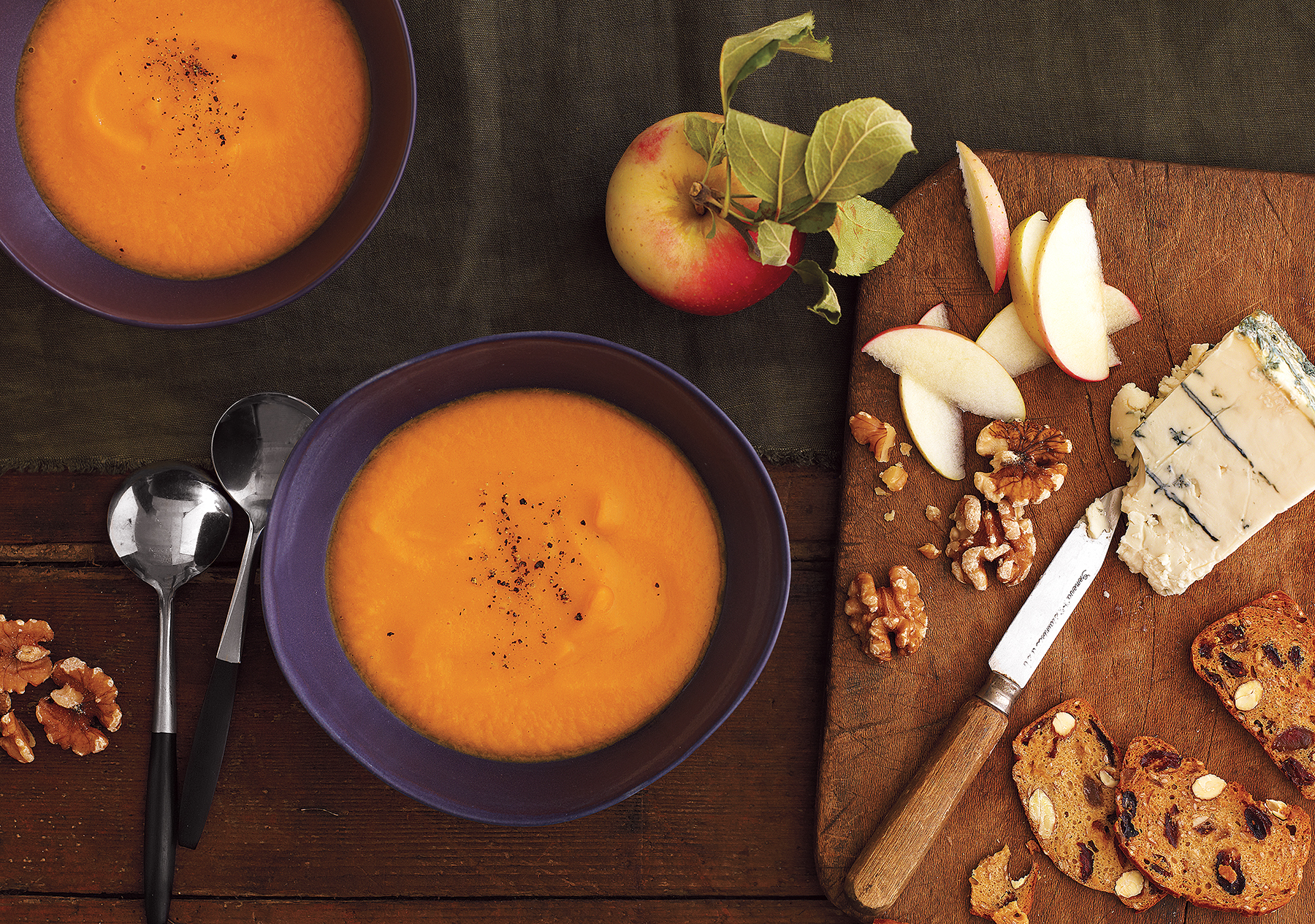 Sweet Potato and Apple Soup With Cheese and Walnuts