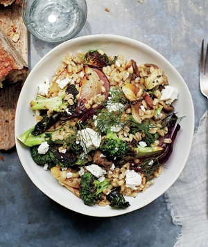 Roasted Broccoli, Mushroom, and Barley Salad