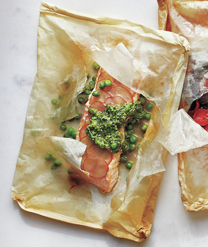 Potato, Pea, and Pesto Fish Packets