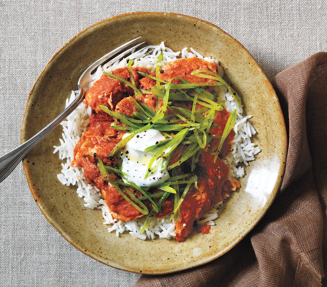 Chicken Tikka Masala with Crispy Snap Peas