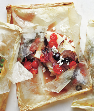 Tomato, Onion, Black Olive, and Feta Fish Packets