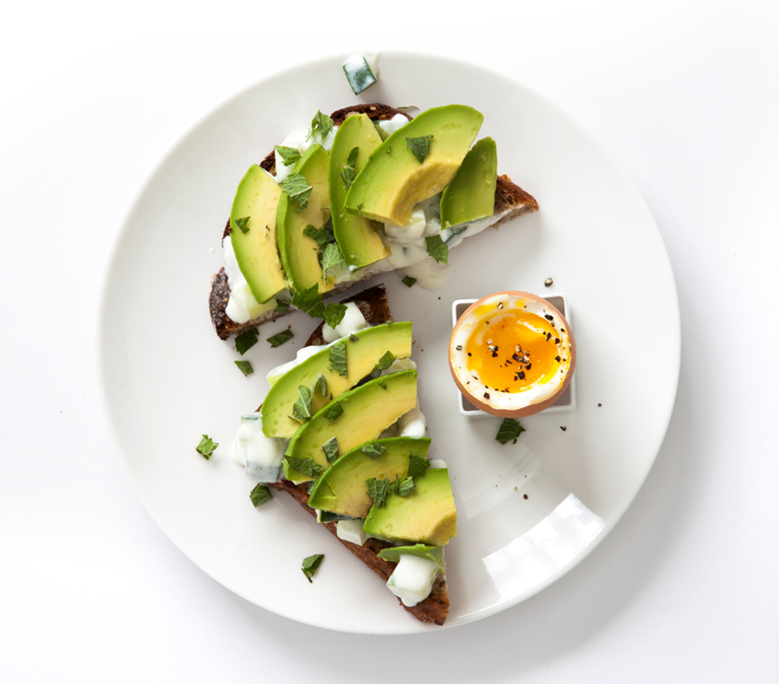 Avocado and Raita Toast with Boiled Egg