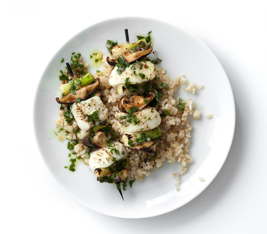 Halibut, Mushroom, and Scallion Kebabs Over Brown Rice with Spicy Cilantro Sauce