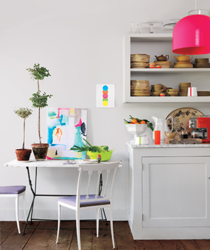 Neon decorated kitchen