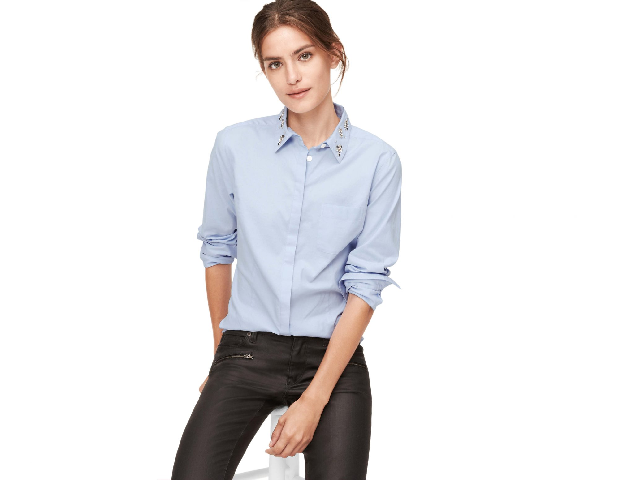 Loft Jeweled Collar Oxford Shirt