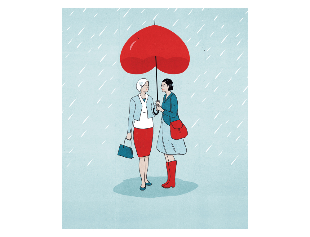 Illustration: Two women sharing a heart-shaped umbrella