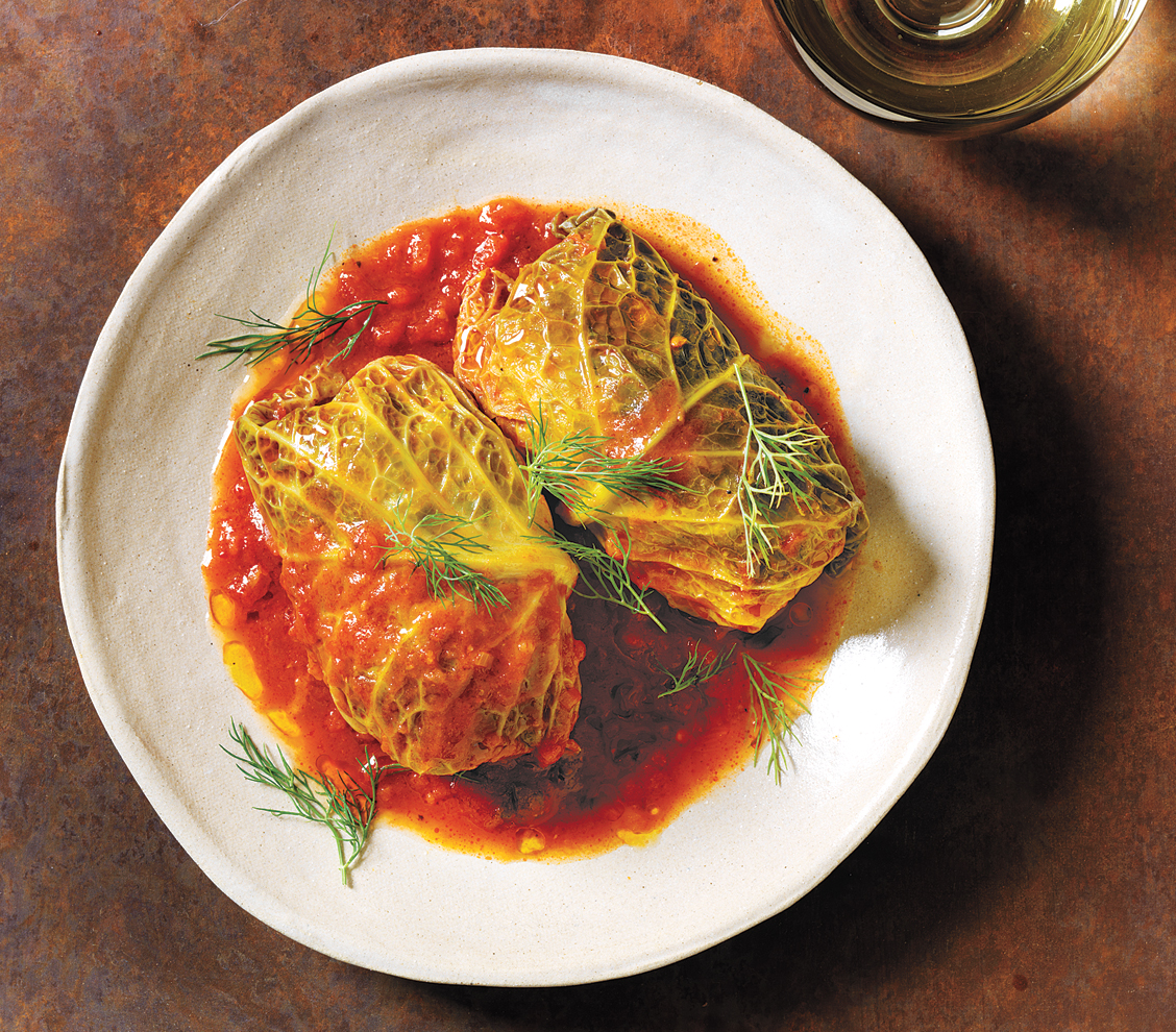 Slow-Cooker Pork-Stuffed Cabbage