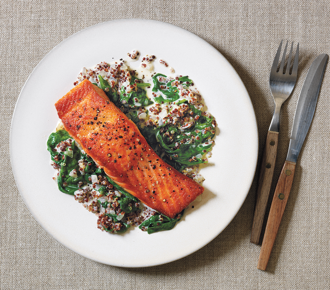 Salmon with Creamed Spinach and Quinoa