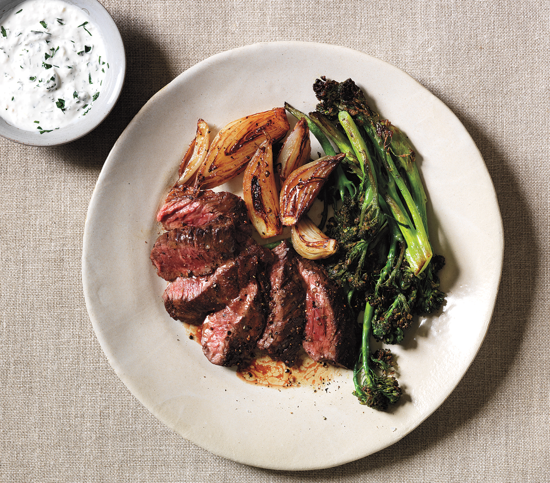 Skirt Steak with Roasted Shallots, Broccolini, and Horseradish Sauce