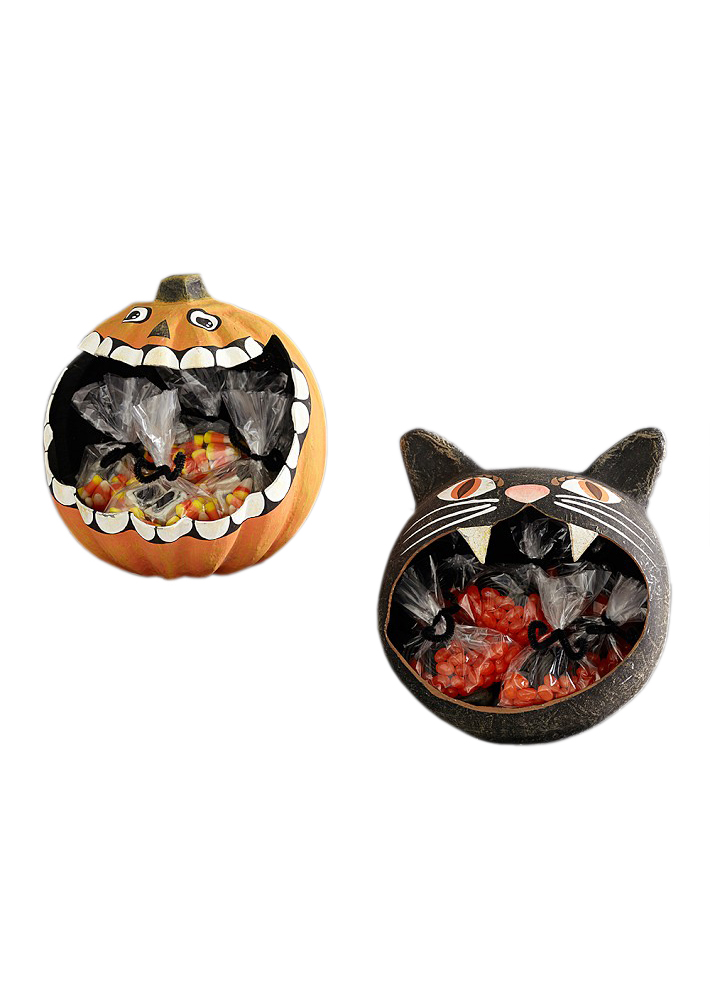 Black Cat and Pumpkin Patch Paper Mache Treat Vessels