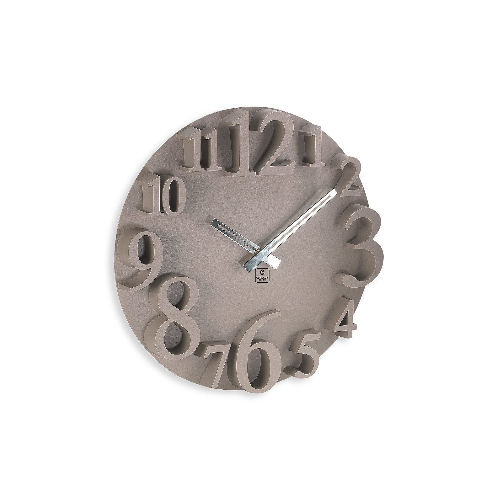 Brown Raised Numbers Wall Clock
