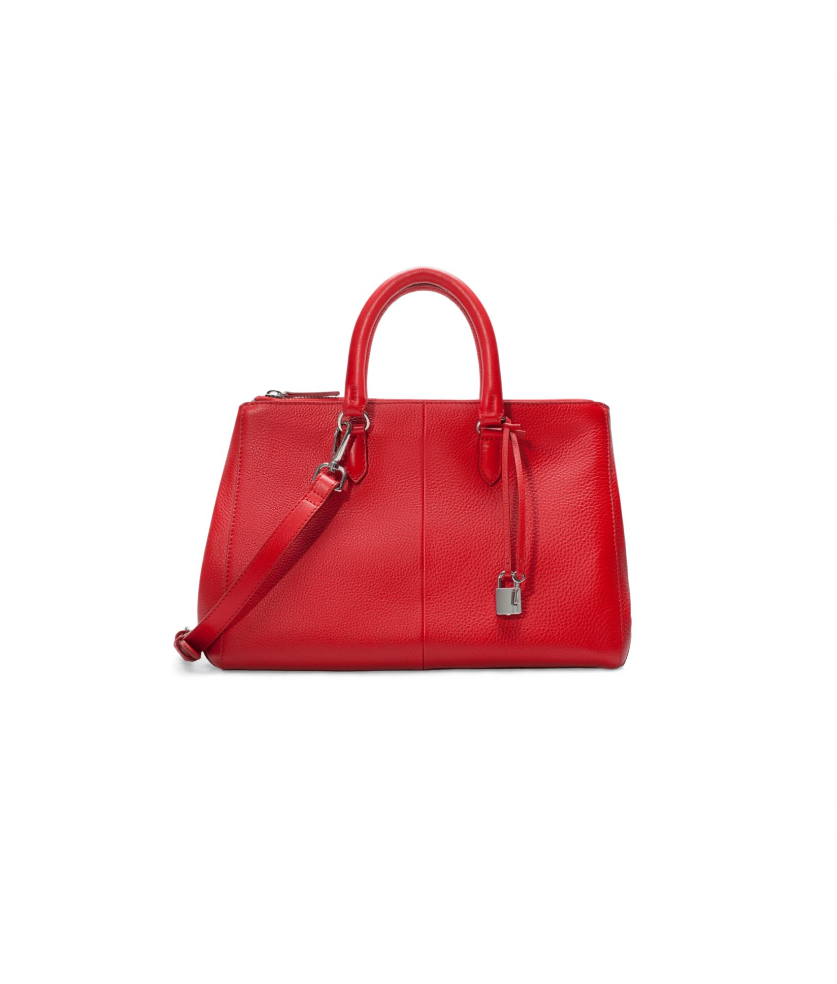 Zara Leather City Bag with Zips Red
