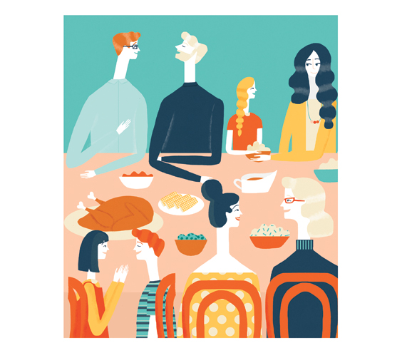Illustration: people chatting at dinner table