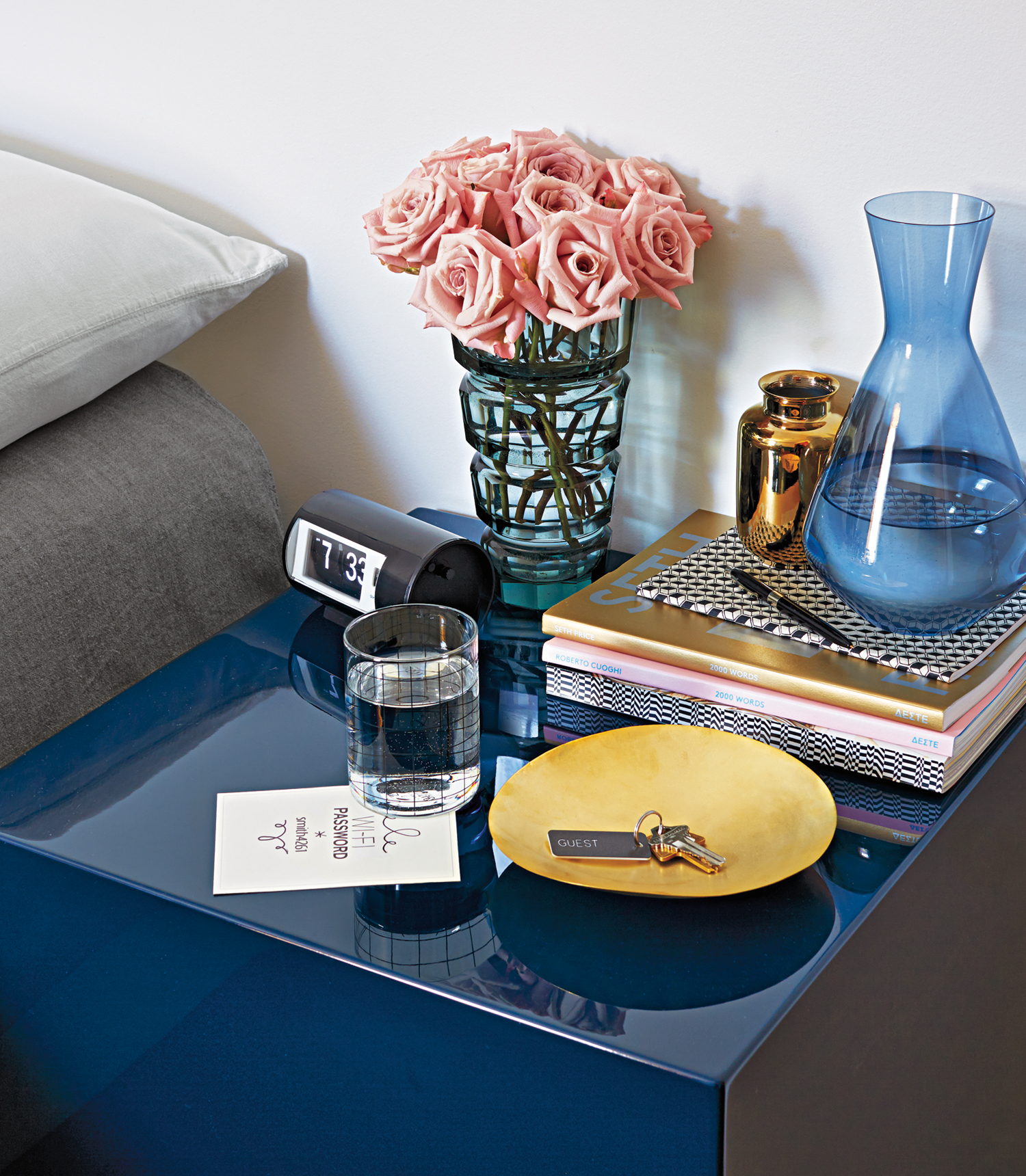 Guest room bedside table