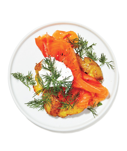 Smoked Salmon on Crispy Crushed Potatoes with Dill