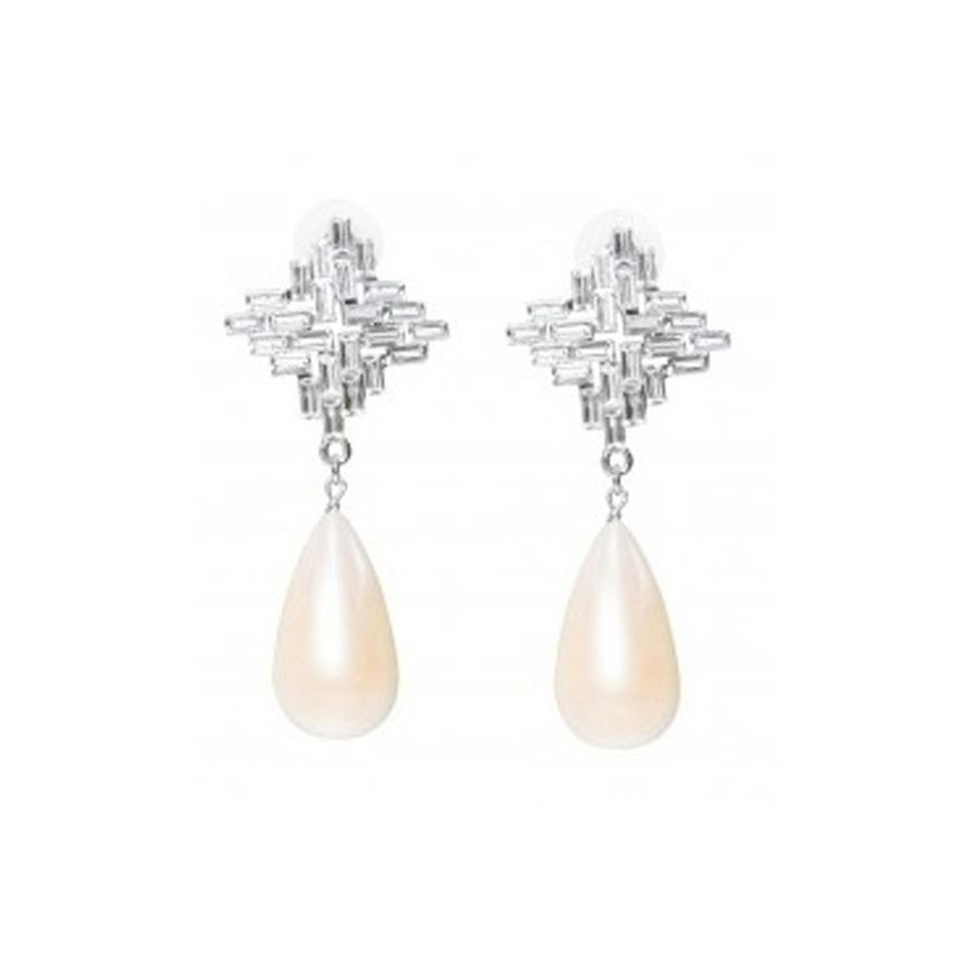Three Jane Grand Palais Art Deco Earrings With Pearl Drop