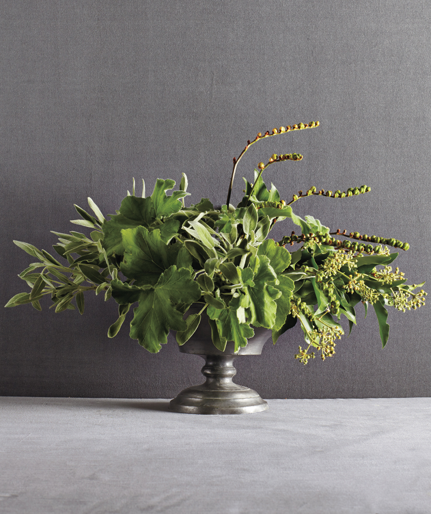 All-green, flowerless arrangement