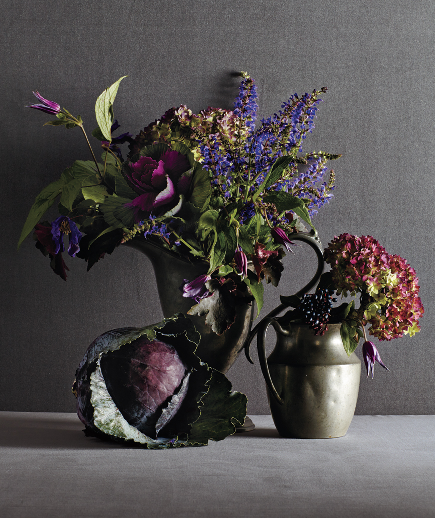 Centerpiece with purple cabbage, flowers