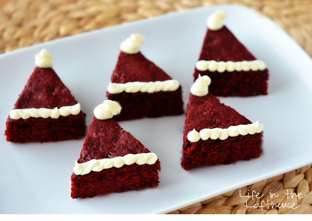 Red Velvet Santa Hat Brownies