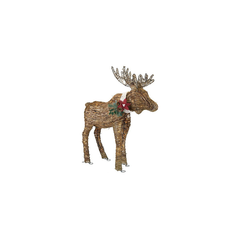 Holiday Lighted Rattan Moose