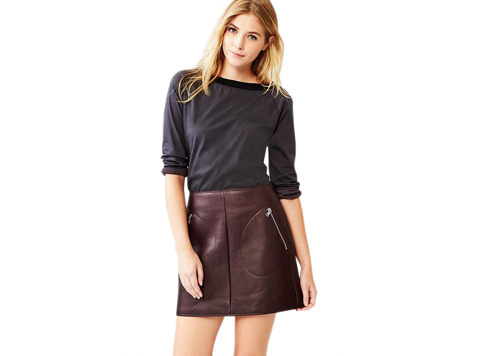 Gap Leather Zip-Pocket Skirt