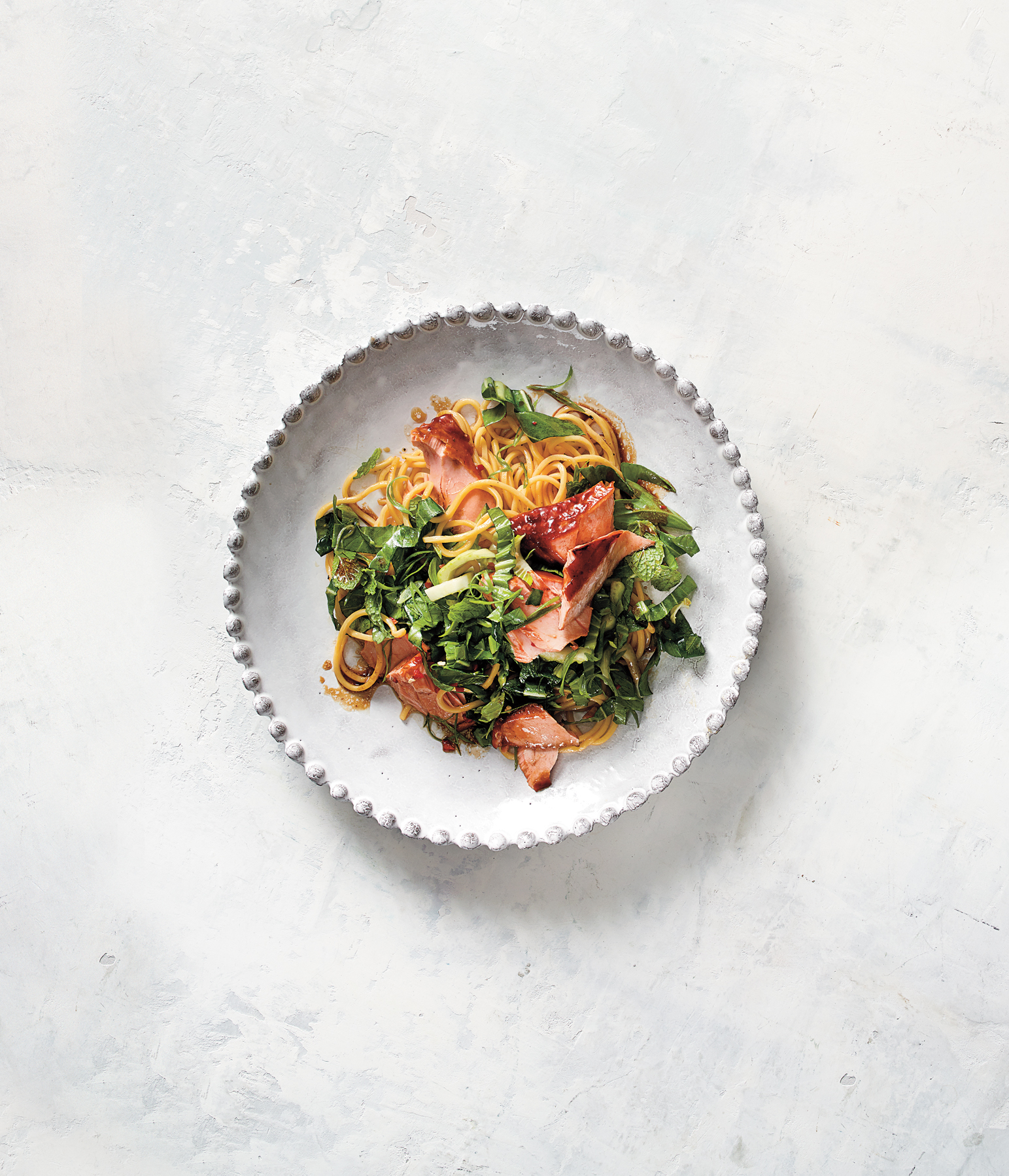 Noodles with Flaked Salmon and Crispy Bok Choy Slaw