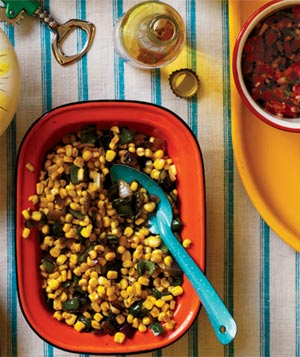 Mexican dinner party menu real simple sauted corn and poblanos forumfinder Choice Image