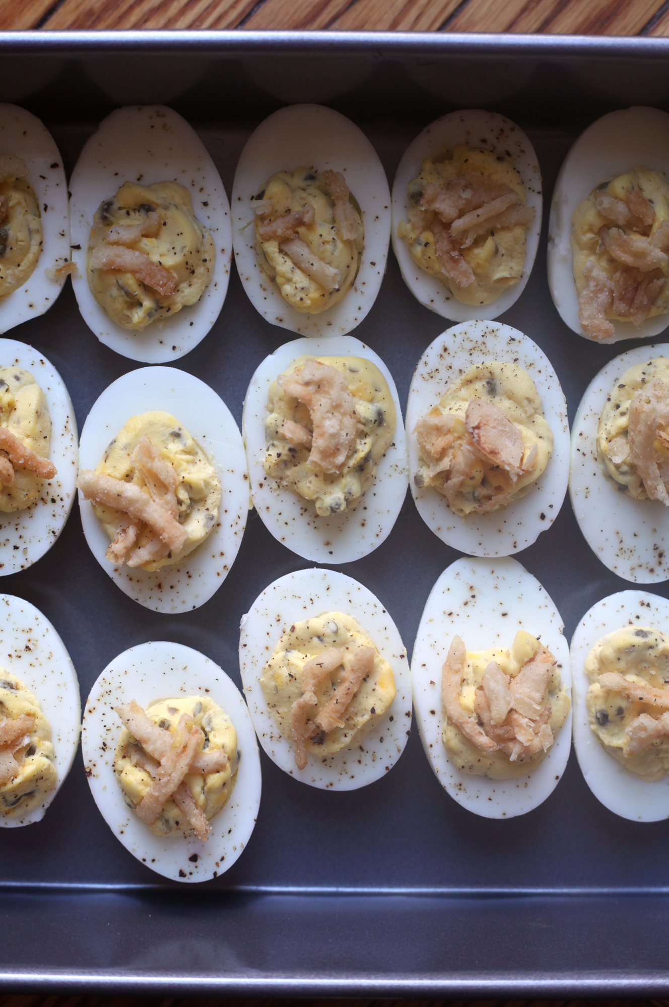 Deviled Eggs with Capers and Fried Onions