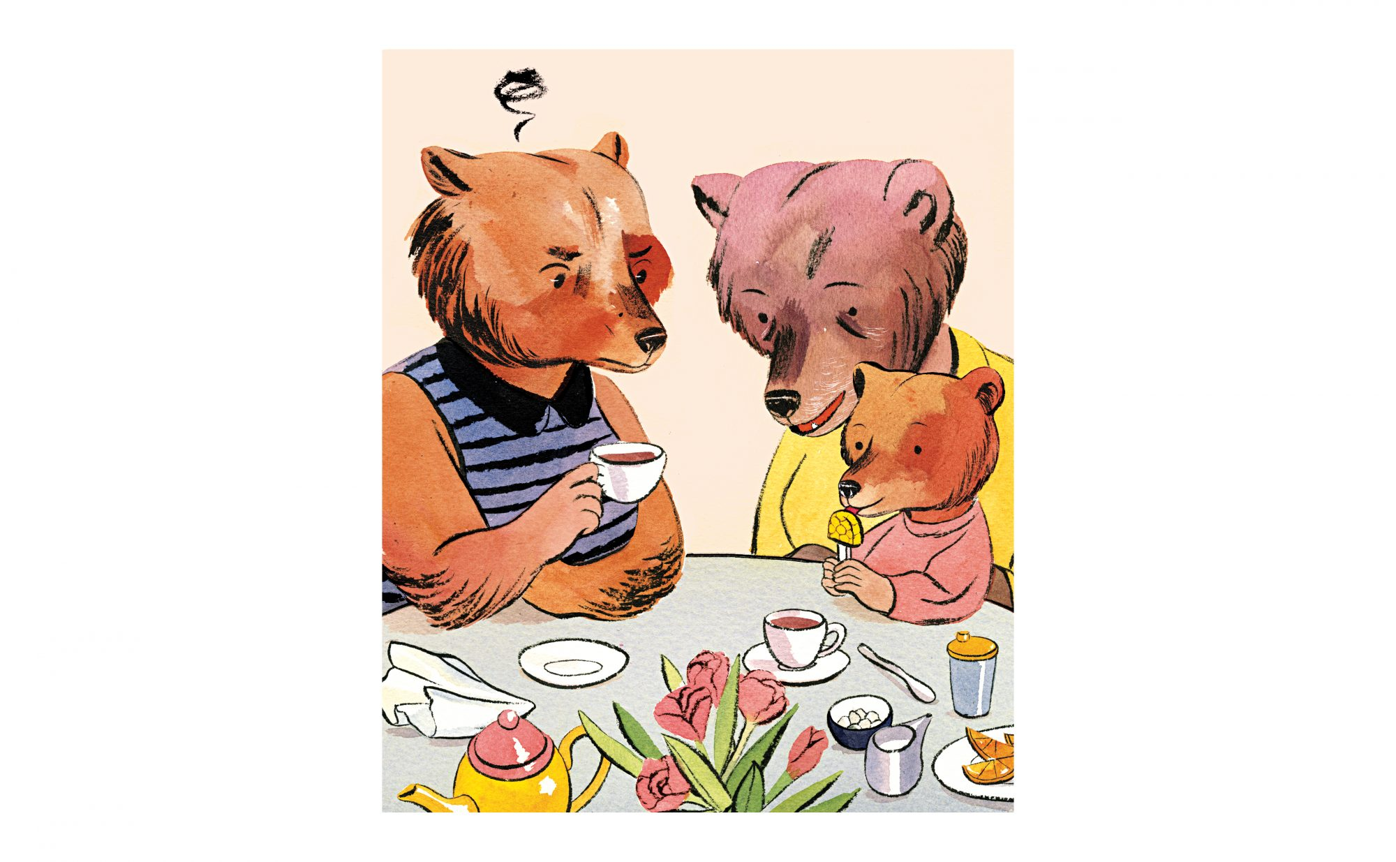 Illustration: family of bears at table