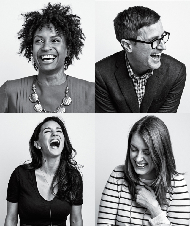 Collage of Real Simple staffers laughing
