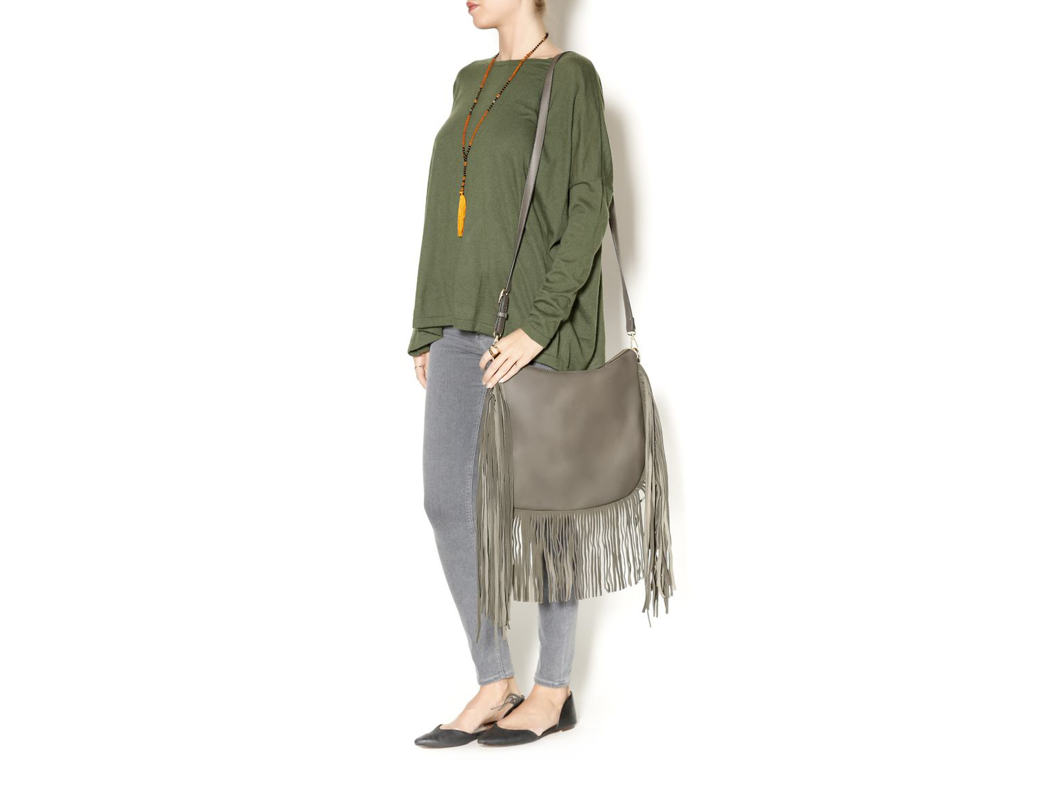 Shoptiques Brown Fringe Messenger
