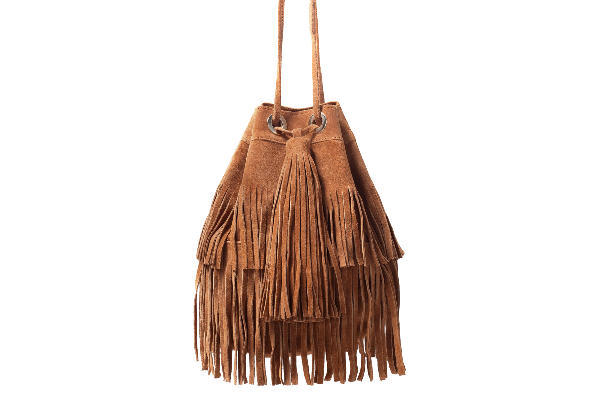 Zara Fringed Suede Bucket Bag