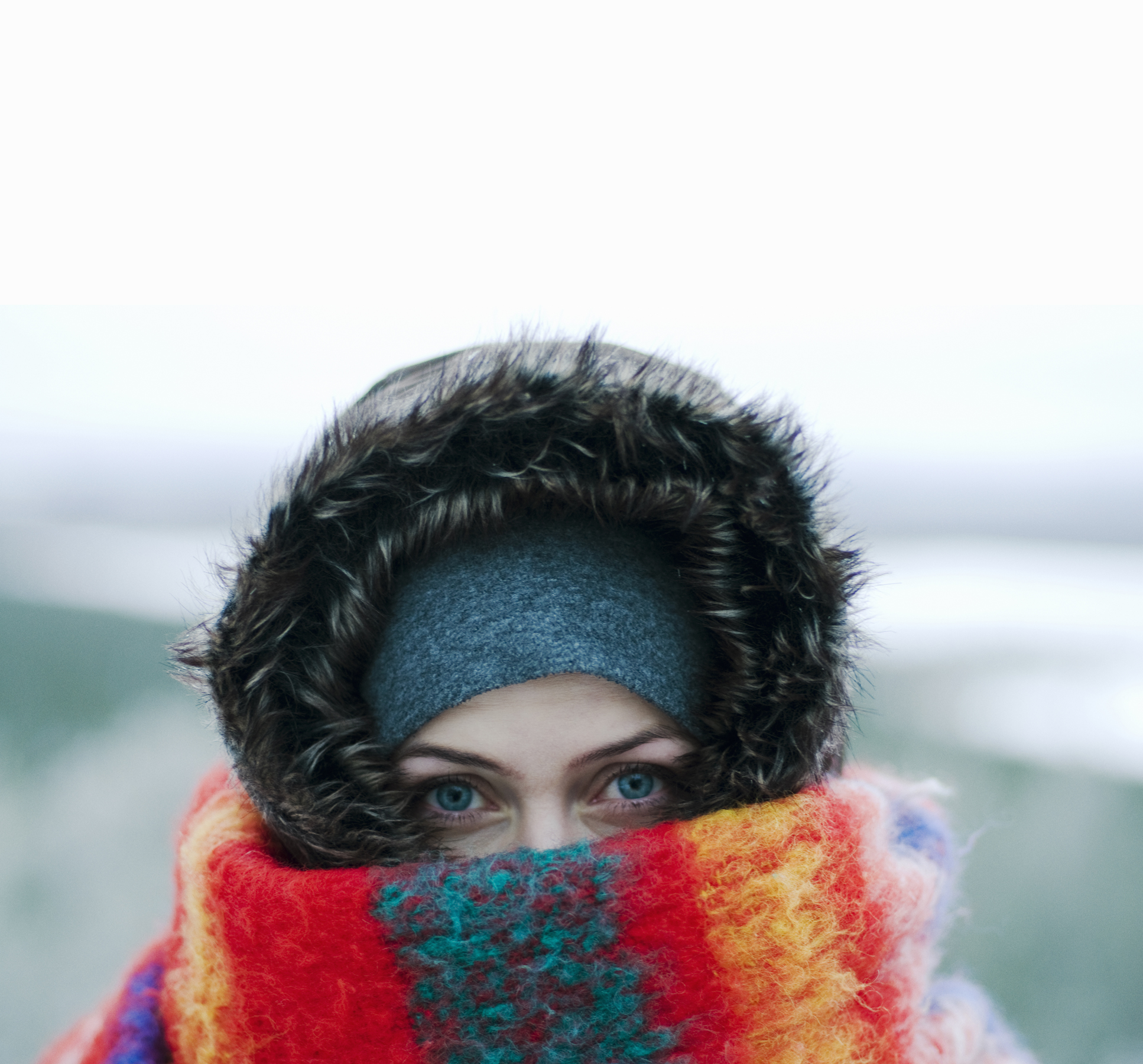 Woman bundled up in the cold