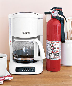 Coffee maker and fire extinguisher