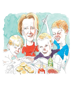 Illustration of mother overseeing chaotic dinner table scene with 3 sons