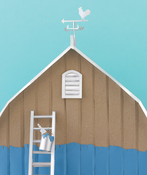 Paper construction of farmhouse by Matthew Sporzynski
