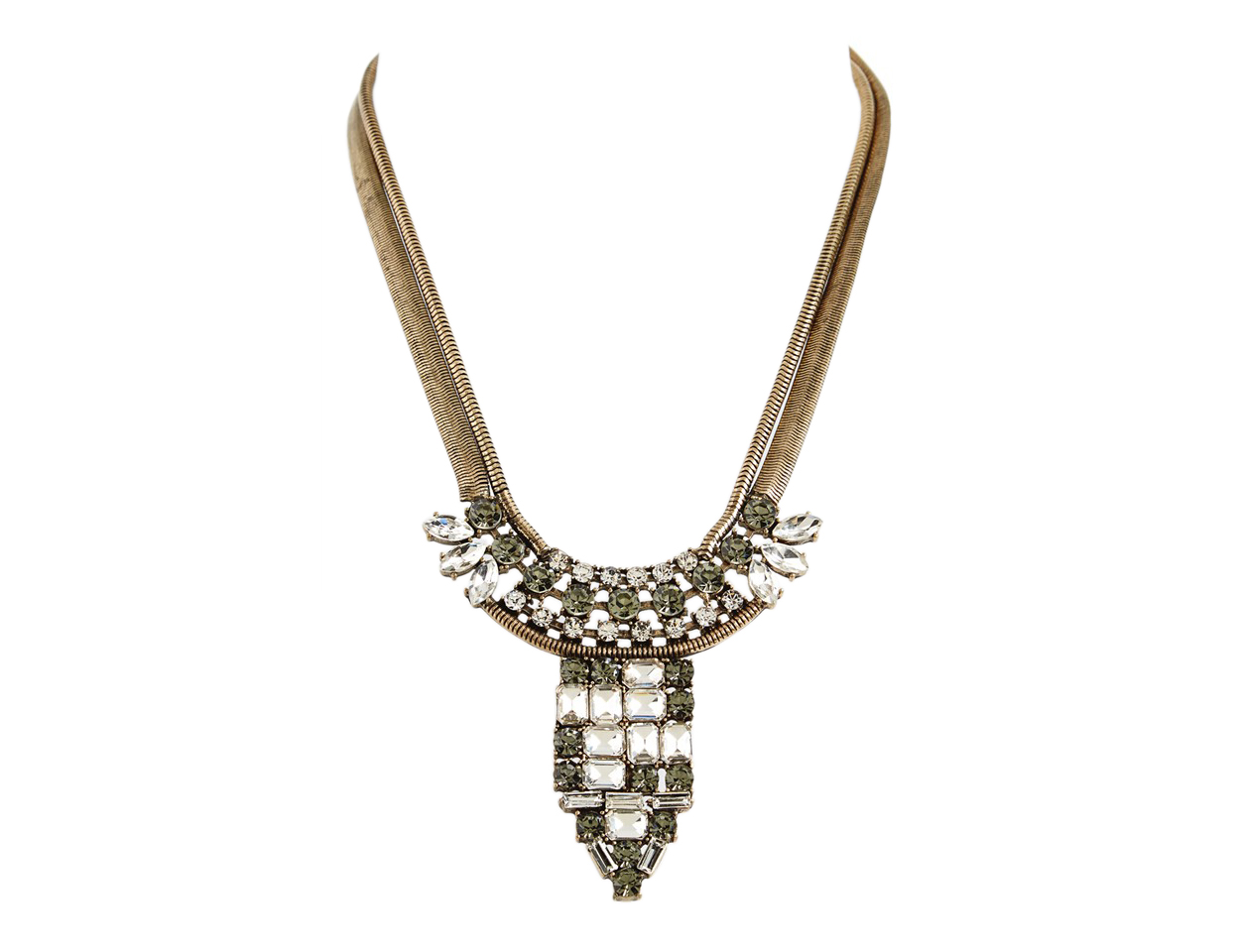 Natasha Couture Deco Dagger Crystal Statement Necklace
