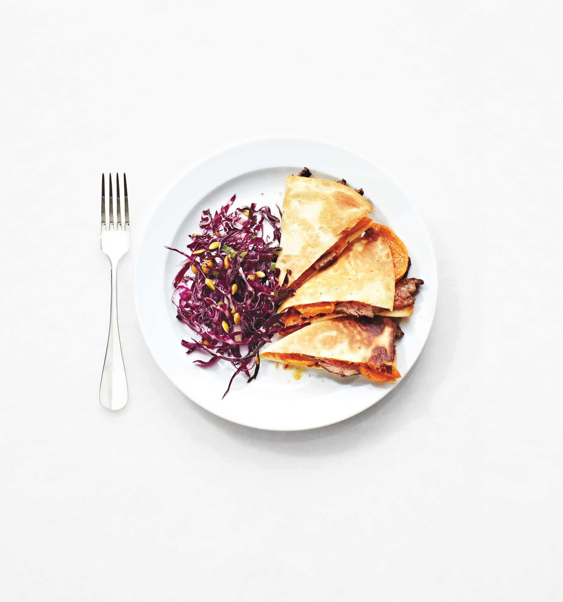 Butternut Squash and Steak Quesadillas with Red Cabbage Slaw