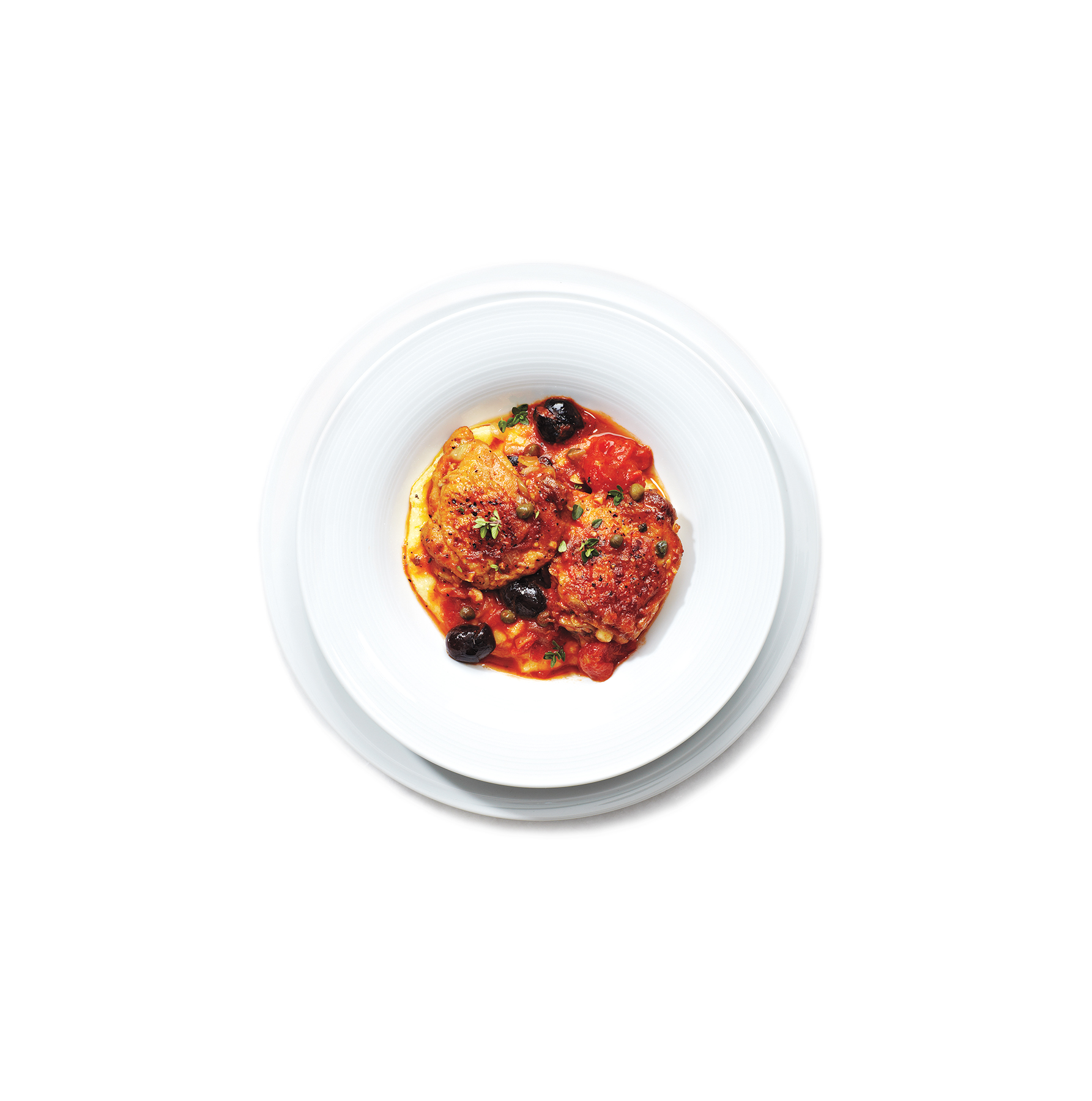 tomato-chicken-olives-polenta