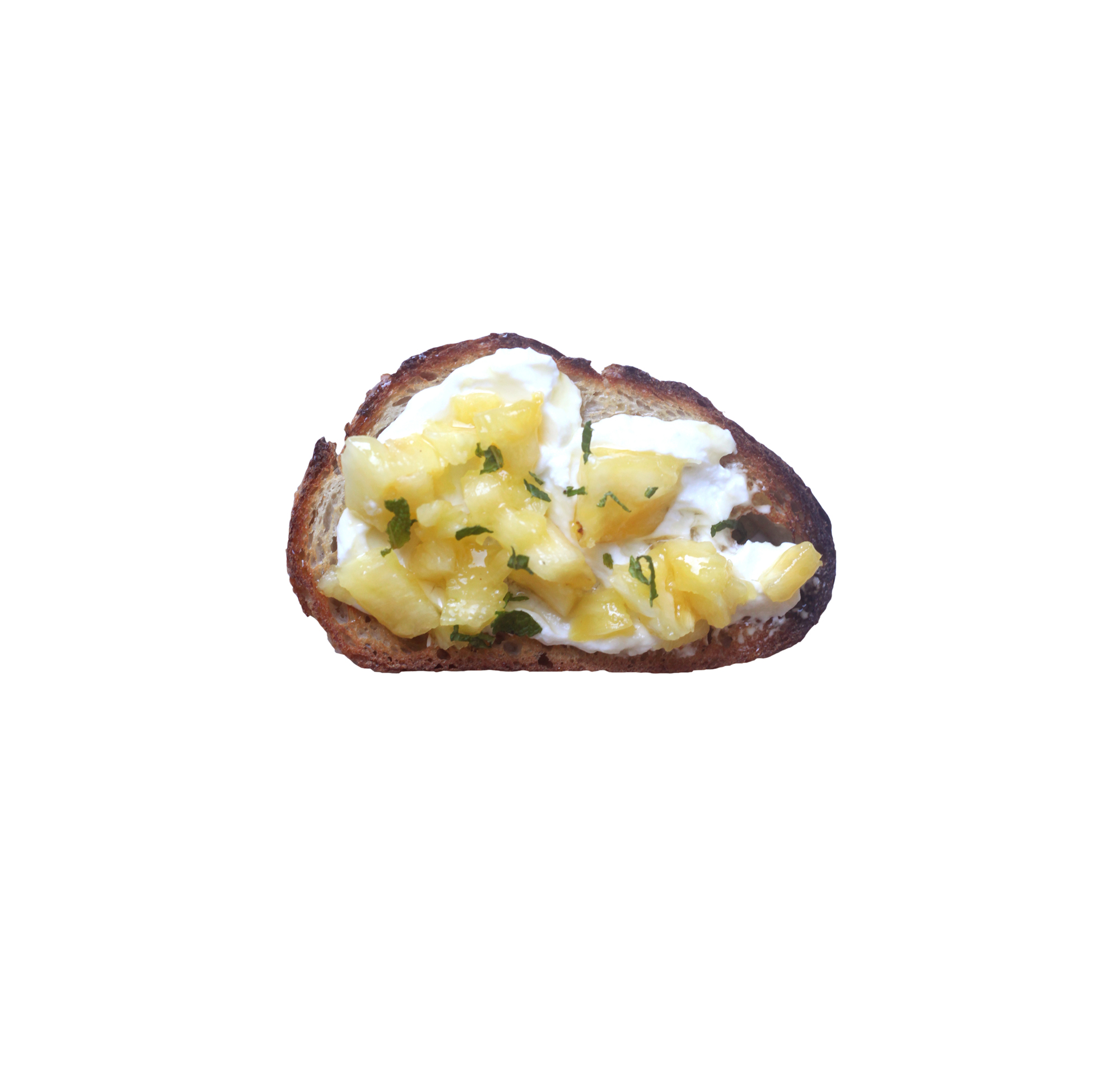 Pineapple, Mint, and Yogurt Toast